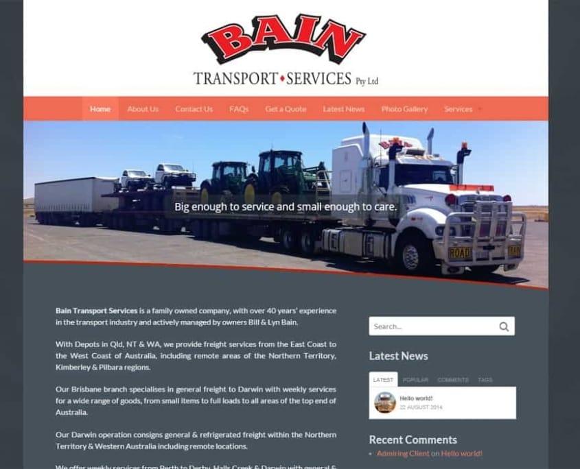 Bain Transport - Website Design Rocklea