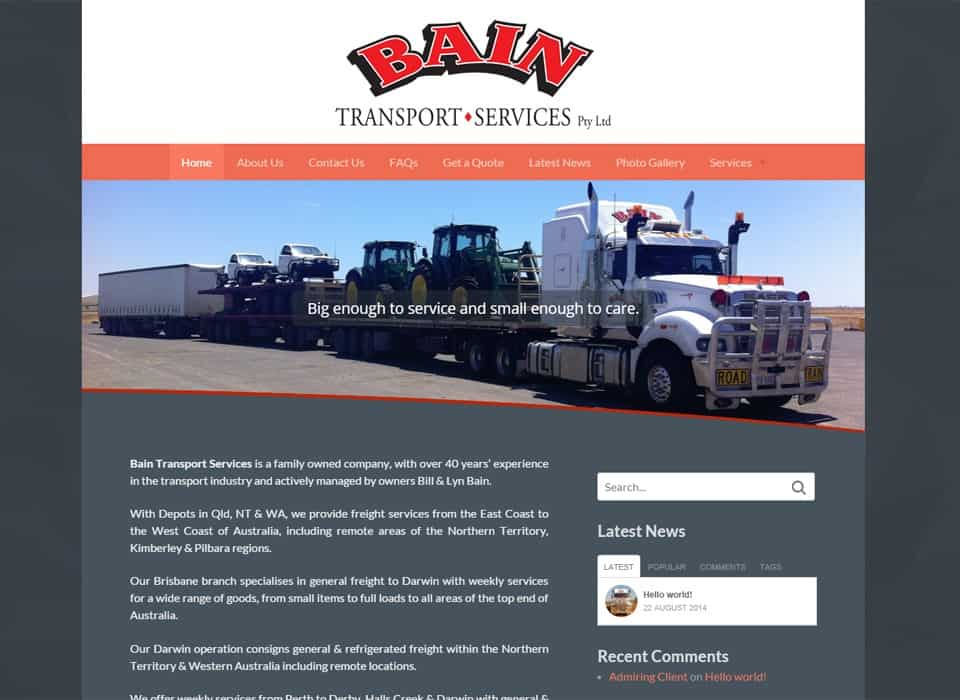Bain Transport - Website Design Rocklea
