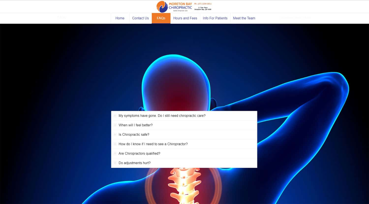 Moreton Bay Chiropractic FAQs Page