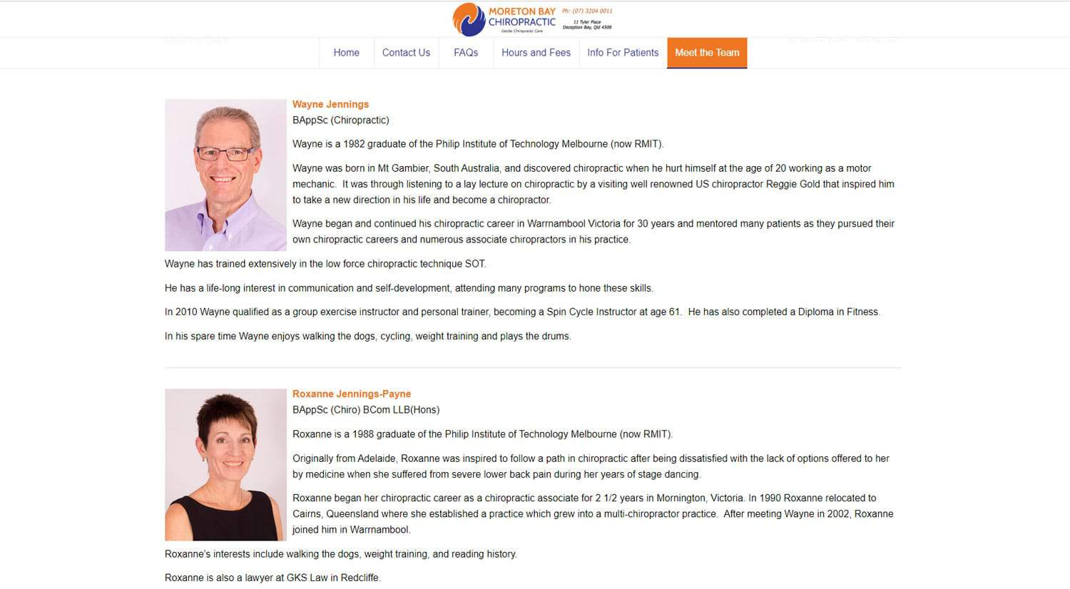 Moreton Bay Chiropractic Meet The Team Page