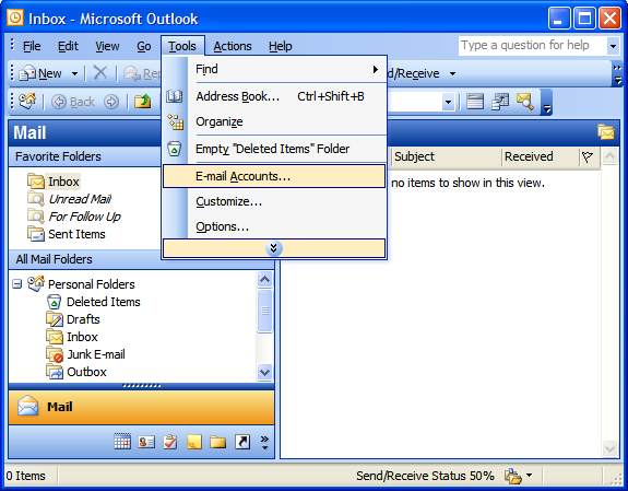 Outlook 2003 Email Accounts