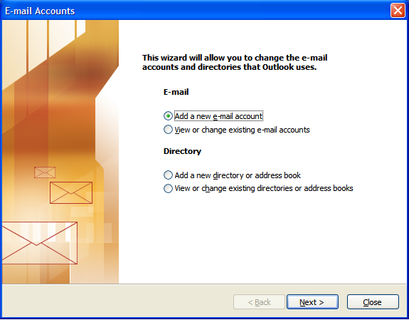 Outlook 2003 Add New Email Account