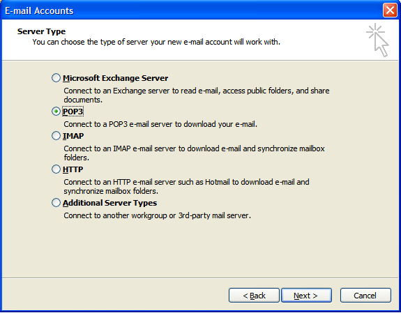 Outlook 2003 Server Type