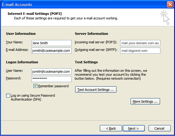 Outlook 2003 User Information