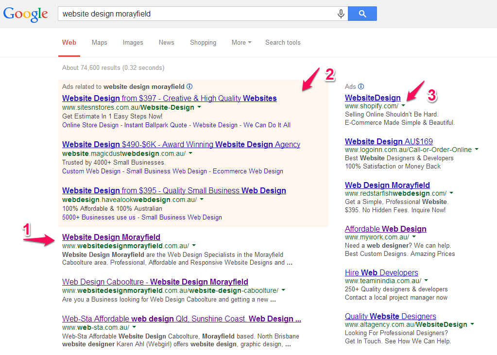 Google Search Results for website design morayfield