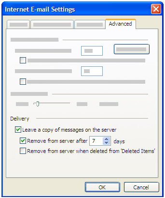 Outlook 2007 remove copy from Server