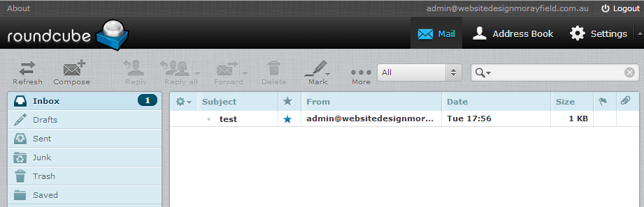 Webmail Roundcube Inbox