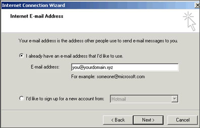 Outlook Express email address