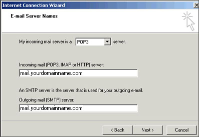 Outlook Express Mail Servers