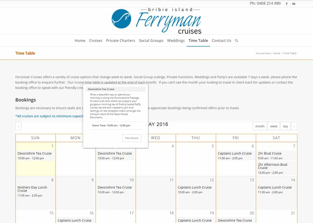 Ferryman Cruises Bribie Island Event Booking Page