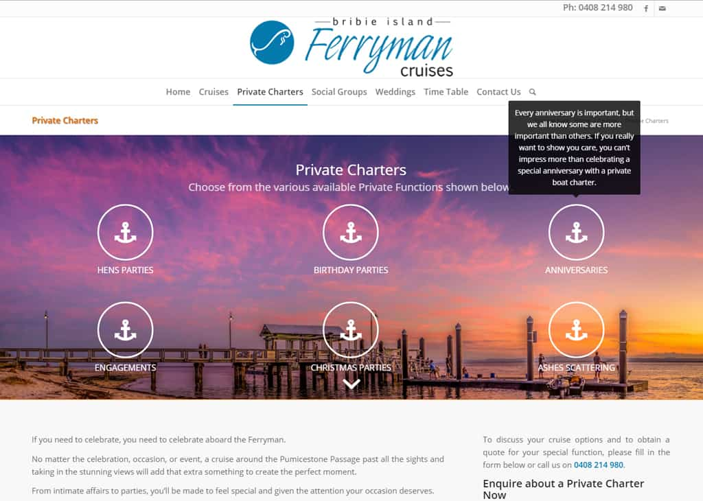 Ferryman Cruises Bribie Island Private Charter Page