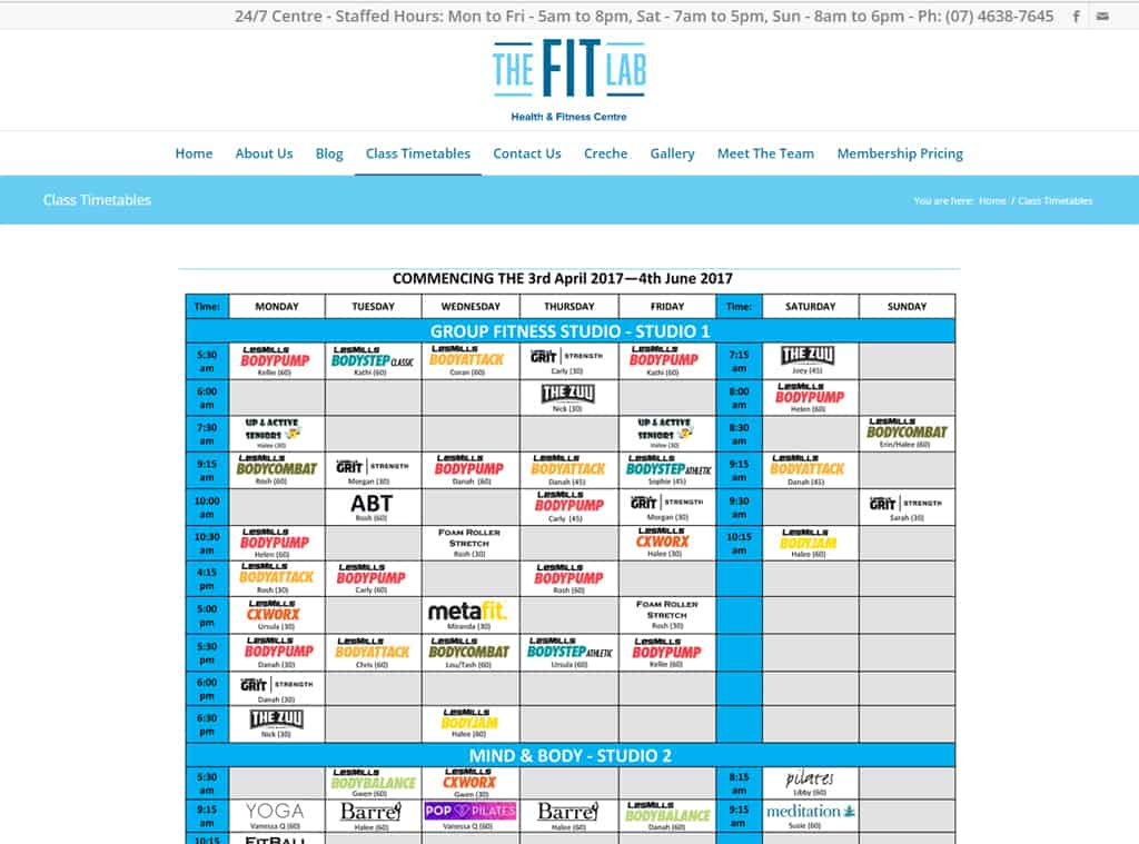 Fit Lab Timetables