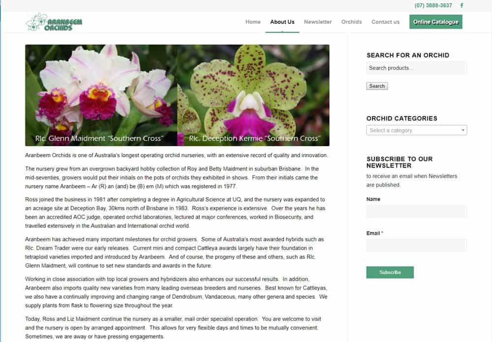Aranbeem Orchids About Us page