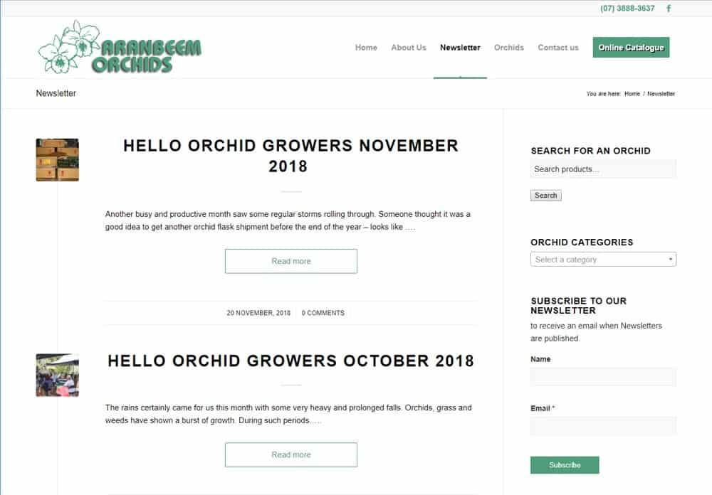 Aranbeem Orchids Subscriber News/Blog