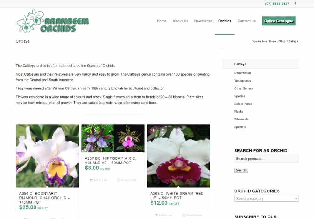 Aranbeem Orchids Product Category Page